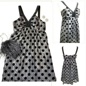 Milly of NY Polka Dot Dress w/blk & silver, 6